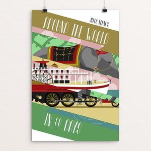 "Around the World in 80 Days by Carl Perks 12"" by 18"" Print / Unframed Print Recovering the Classics"