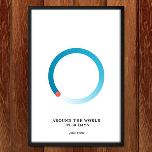 "Around the World in 80 Days by Janet Wright 12"" by 18"" Print / Framed Print Recovering the Classics"
