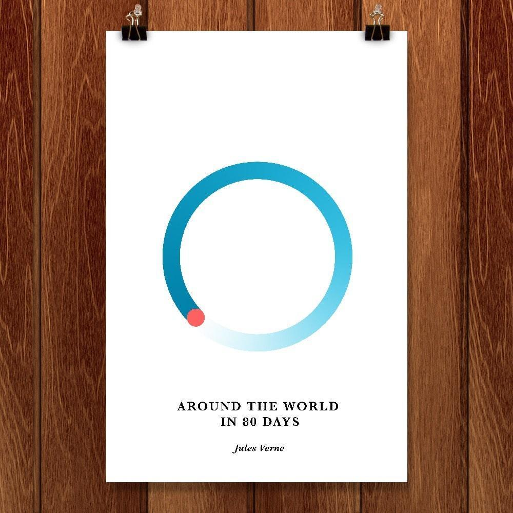 "Around the World in 80 Days by Janet Wright 12"" by 18"" Print / Unframed Print Recovering the Classics"