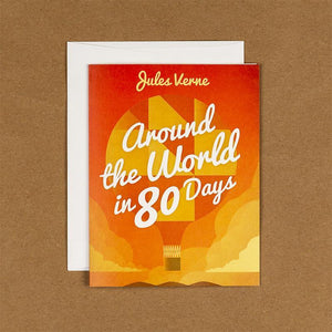 Around the World in 80 Days Notecard by Marcos Arevalo 4.25x5.5 inch Notecard Recovering the Classics