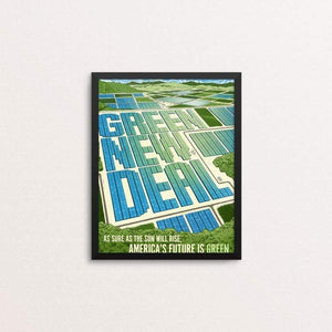"As Sure as the Sun Will Rise, America's Future is Green by Brixton Doyle 8"" by 10"" Print / Framed Print Green New Deal"