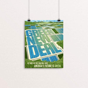 "As Sure as the Sun Will Rise, America's Future is Green by Brixton Doyle 8"" by 10"" Print / Unframed Print Green New Deal"