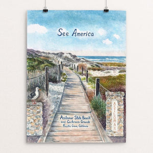 "Asilomar State Beach and Conference Grounds by Elizabeth Kennen 12"" by 16"" Print / Unframed Print See America"