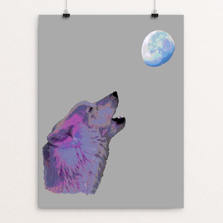 "Atka and the Moon by Anthony Chiffolo 12"" by 16"" Print / Unframed Print Join the Pack"