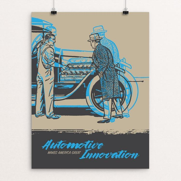 "Automotive Innovation by Darrell Stevens 12"" by 16"" Print / Unframed Print What Makes America Great"