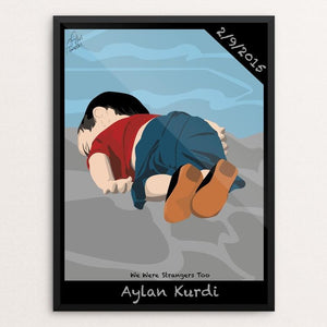 "Aylan Kurdi by Adel Almalki 12"" by 16"" Print / Framed Print We Were Strangers Too"