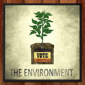 "Ballot Box Plant Pot by Jordan Brittain 12"" by 12"" Print / Framed Print Vote the Environment"