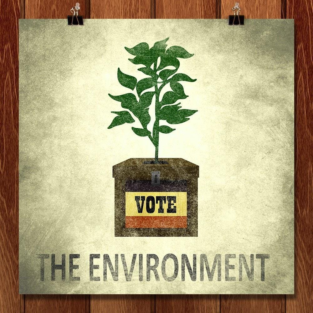 "Ballot Box Plant Pot by Jordan Brittain 12"" by 12"" Print / Unframed Print Vote the Environment"