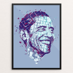 "Barack Obama Mapped by Charis Tsevis 12"" by 16"" Print / Framed Print Design For Obama"