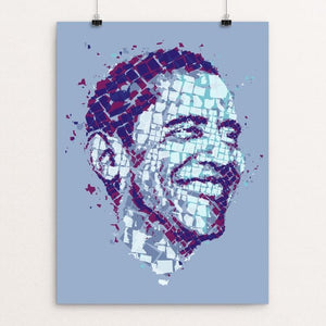 "Barack Obama Mapped by Charis Tsevis 12"" by 16"" Print / Unframed Print Design For Obama"
