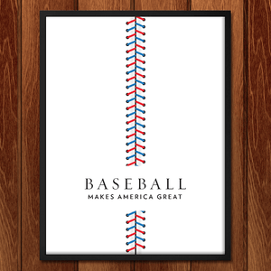 "Baseball by Brandon Kish 12"" by 16"" Print / Framed Print What Makes America Great"