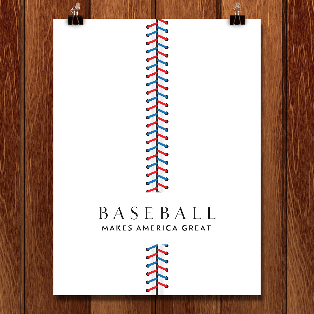 "Baseball by Brandon Kish 12"" by 16"" Print / Unframed Print What Makes America Great"