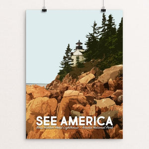"Bass Harbor Head Lighthouse, Acadia National Park by Mary Stasilli 12"" by 16"" Print / Unframed Print See America"