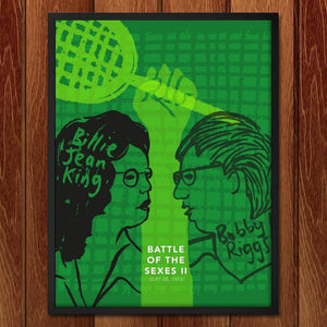 "Battle of the Sexes, Billie Jean King v Bobby Riggs by Louise Norman 18"" by 24"" Print / Framed Print Transcend - Moments in Sports that Changed the Game"