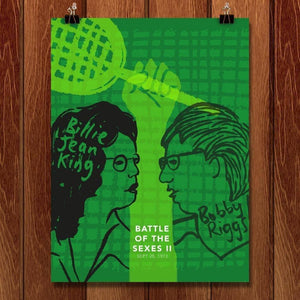 "Battle of the Sexes, Billie Jean King v Bobby Riggs by Louise Norman 18"" by 24"" Print / Unframed Print Transcend - Moments in Sports that Changed the Game"