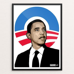 "Be the Change (2016) by David Hays 12"" by 16"" Print / Framed Print Design For Obama"