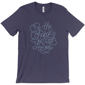 Be the Change Men's T-Shirt by Rachel Young Navy / Extra Small (XS) T-Shirt Creative Action Network