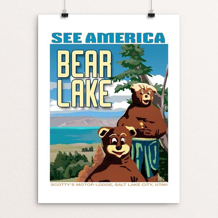 "Bear Lake and Scotty's Motor Lodge by Paul Heath 12"" by 16"" Print / Unframed Print See America"
