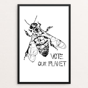 "Bee by Britt Freda 12"" by 18"" Print / Framed Print Vote Our Planet"