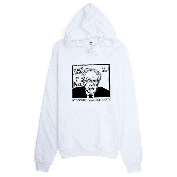 Bernie Has A Posse Hoodie by Jeremy Merrill S / White Hoodie Working Families P(ART)Y