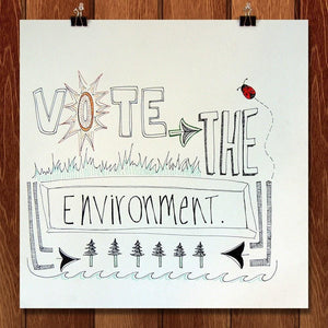 "Better Than a Green Day by Audrey Boyle 12"" by 12"" Print / Unframed Print Vote the Environment"