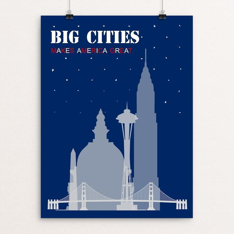 "Big cities by Giorgia Romano 12"" by 16"" Print / Unframed Print What Makes America Great"
