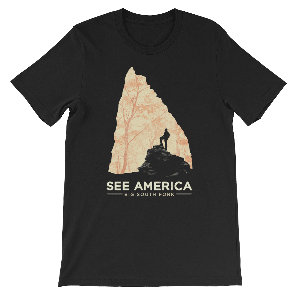 Big South Fork National River and Recreation Area T-Shirt by Jon Cain XS / Men's / black T-Shirt See America