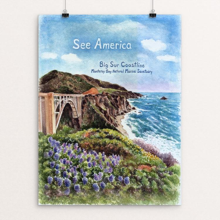 "Big Sur Coastline, Monterey Bay National Marine Sanctuary by Elizabeth Kennen 12"" by 16"" Print / Unframed Print See America"