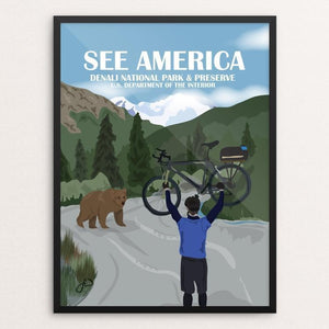 "Biking In Denali National Park by Laura Whitelock 12"" by 16"" Print / Framed Print See America"