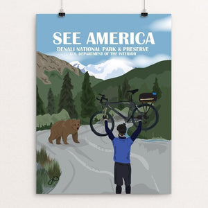 "Biking In Denali National Park by Laura Whitelock 12"" by 16"" Print / Unframed Print See America"