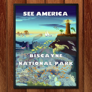 "Biscayne Above and Below by Lyla Paakkanen 12"" by 16"" Print / Framed Print See America"