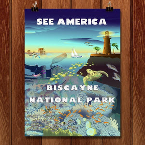 "Biscayne Above and Below by Lyla Paakkanen 12"" by 16"" Print / Unframed Print See America"