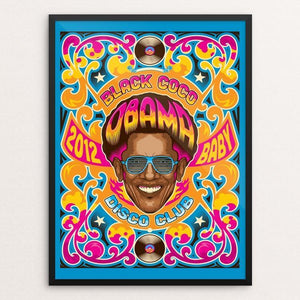 "Black Coco Disco Club by Roberlan Paresqui 12"" by 16"" Print / Framed Print Design For Obama"
