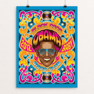 "Black Coco Disco Club by Roberlan Paresqui 12"" by 16"" Print / Unframed Print Design For Obama"