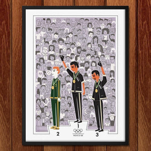 "Black Power Salute, Mexico City, Oct. 16, 1968 by Victoria Fernandez 18"" by 24"" Print / Framed Print Transcend - Moments in Sports that Changed the Game"