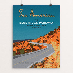 "Blue Ridge Parkway by Ed Gaither 12"" by 16"" Print / Unframed Print See America"