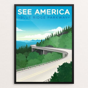 "Blue Ridge Parkway by Jon Cain 12"" by 16"" Print / Framed Print See America"