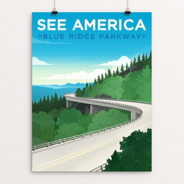 "Blue Ridge Parkway by Jon Cain 12"" by 16"" Print / Unframed Print See America"