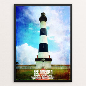 "Bodie Lighthouse, Cape Hatteras National Seashore by Bryan Bromstrup 12"" by 16"" Print / Framed Print See America"