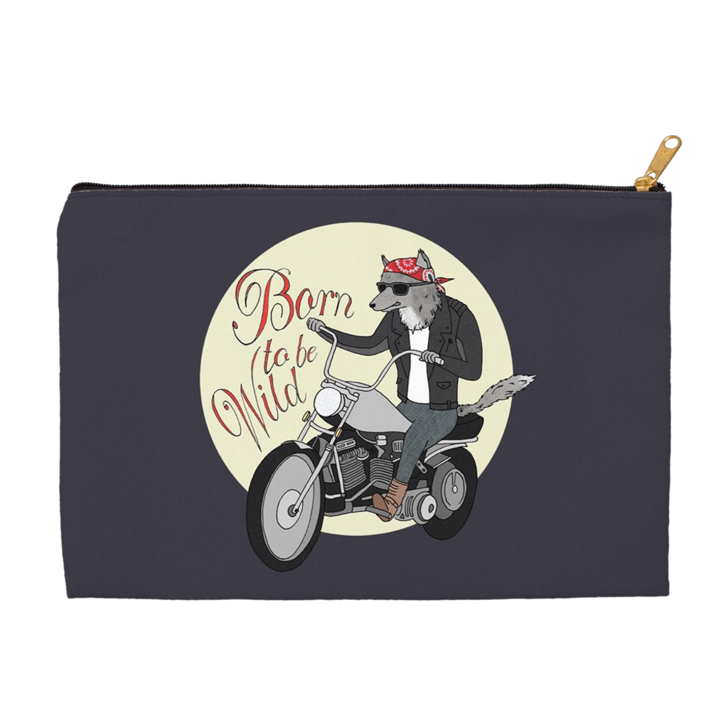 Born to be Wild Accessory Bag by Naomi Sloman 8.5x6 inch w/ Black Zipper Tape Accessory Bag Join the Pack