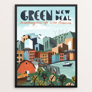"Breathing New Life Into America by Caitlin Alexander 12"" by 16"" Print / Framed Print Green New Deal"