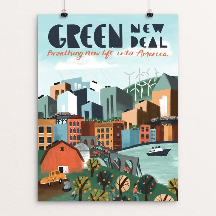 "Breathing New Life Into America by Caitlin Alexander 12"" by 16"" Print / Unframed Print Green New Deal"