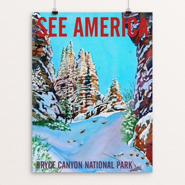 "Bryce Canyon National Park-Snow in March by Bruce and Scott Sink 12"" by 16"" Print / Unframed Print See America"