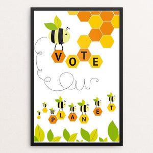 "Busy bees; working together, supporting our planet. by Michelle Robb 12"" by 18"" Print / Framed Print Vote Our Planet"