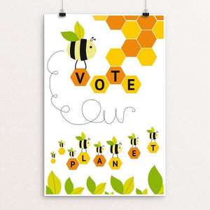"Busy bees; working together, supporting our planet. by Michelle Robb 12"" by 18"" Print / Unframed Print Vote Our Planet"