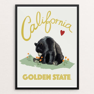 "Cali Love - Golden State Bear by Brooke Fischer 12"" by 16"" Print / Framed Print Creative Action Network"