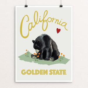 "Cali Love - Golden State Bear by Brooke Fischer 12"" by 16"" Print / Unframed Print Creative Action Network"
