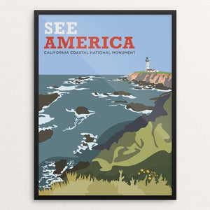 "California Coastal National Monument by Cabbage Creative 12"" by 16"" Print / Framed Print See America"