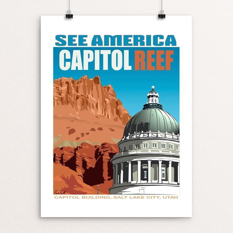 "Capitol Reef National Park and Utah State Capitol by Paul Heath 12"" by 16"" Print / Unframed Print See America"