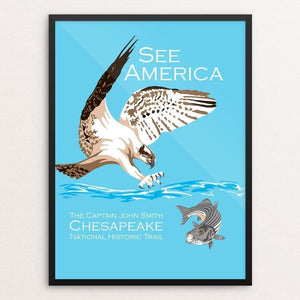 "Captain John Smith Chesapeake National Historic Trail by Candy Medusa 12"" by 16"" Print / Framed Print See America"